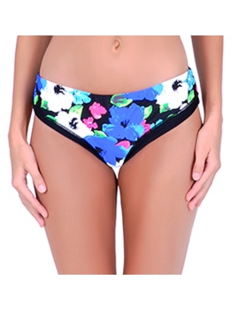 Calzon tiro alto de bikini estampado negro marca samia