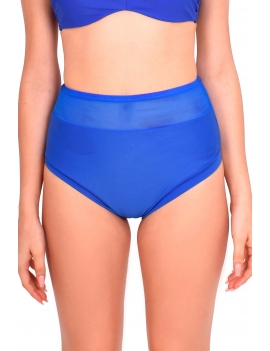 Modelo con calzon de bikini pin up con transparencia azul