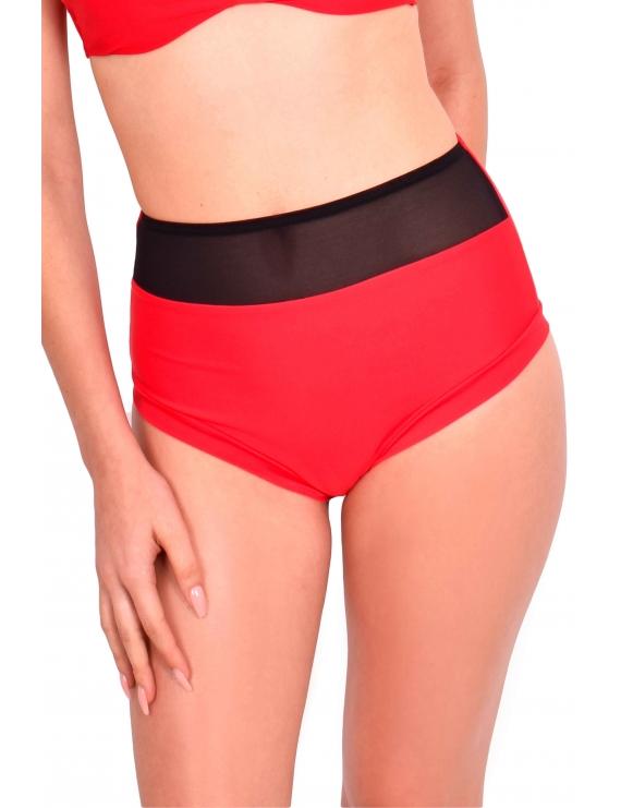 Modelo con calzon de bikini pin up con transparencia rojo