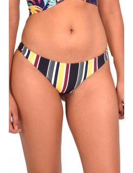 Modelo luciendo calzon de bikini clasico estampado amarillo